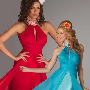 NEW MAC DUGGAL Aqua Pageant Evening Gown